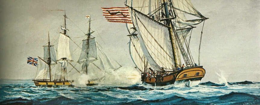 American privateer General Montgomery battling Millern,an English ship